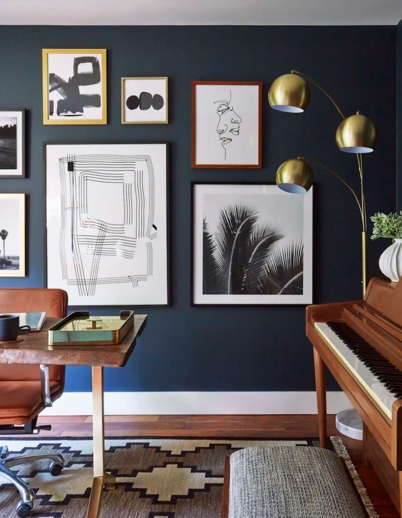 welche Farben passen zusammen Wandfarbe dunkel Wohnzimmer