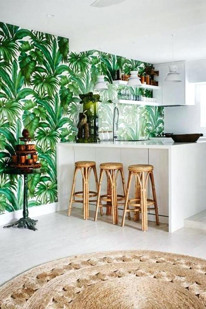 Tropische Tapeten im Wohnzimmer