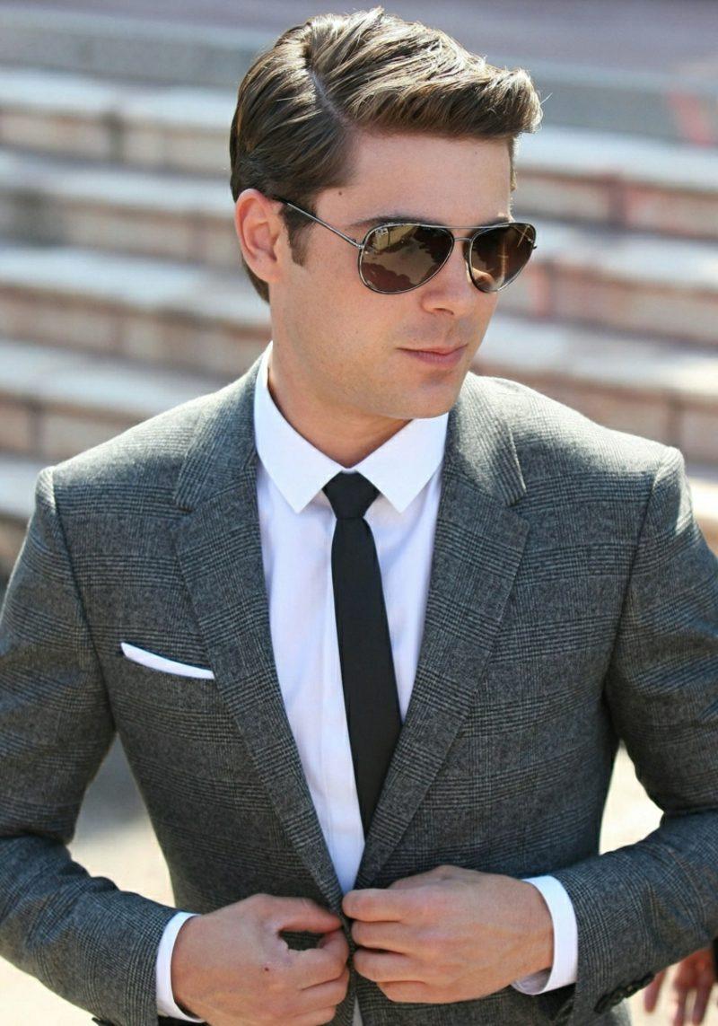 Anzüge Herren grau schwarze Krawatte Sonnenbrillen