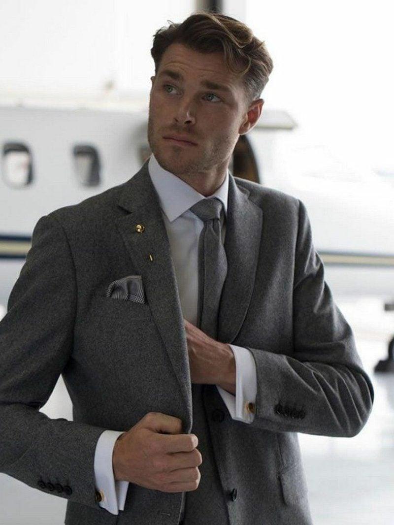 Anzüge Herren graue Krawatte sakko stilvoll