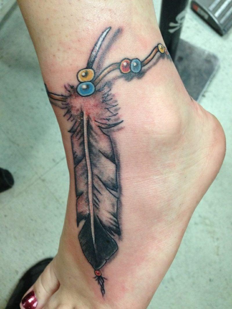 Feder Tattoos Indianer Look Fussgelenk