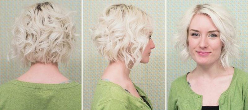 Kurze Haare locken blond stilvoller Look