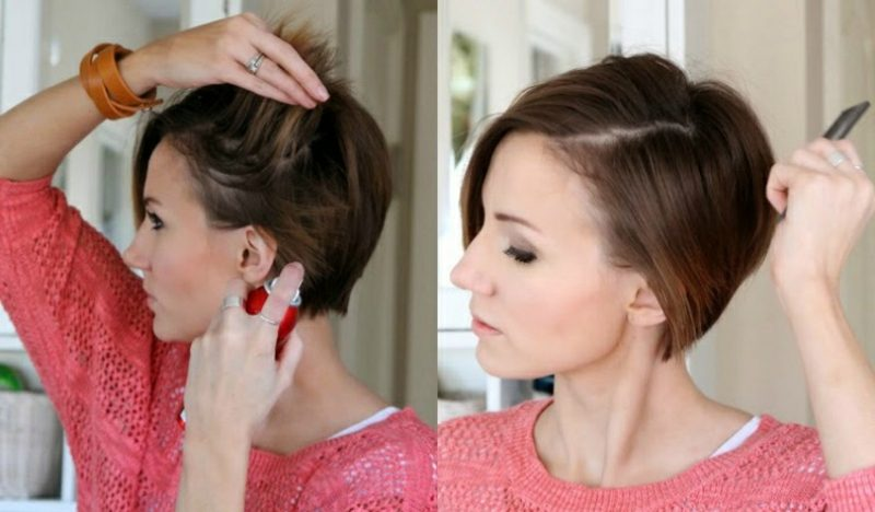 Kurze Haare locken Vorbereitung Hitzeschützspray