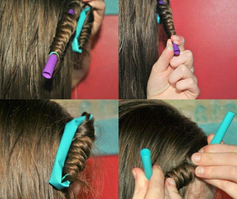 Kurze Haare locken ohne Hitze Strohhalmen