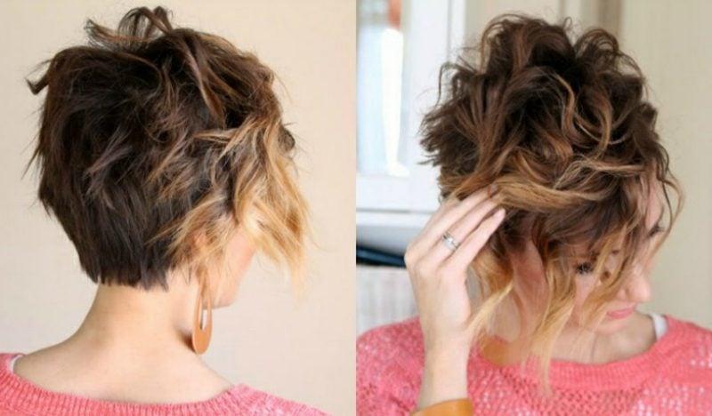 Kurze Haare locken attraktiver messy Look gestalten