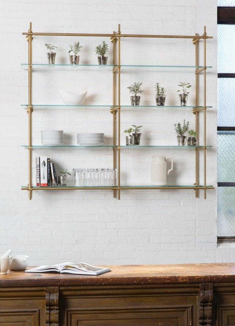 Küchenregale Glas und Metall herrliches Design
