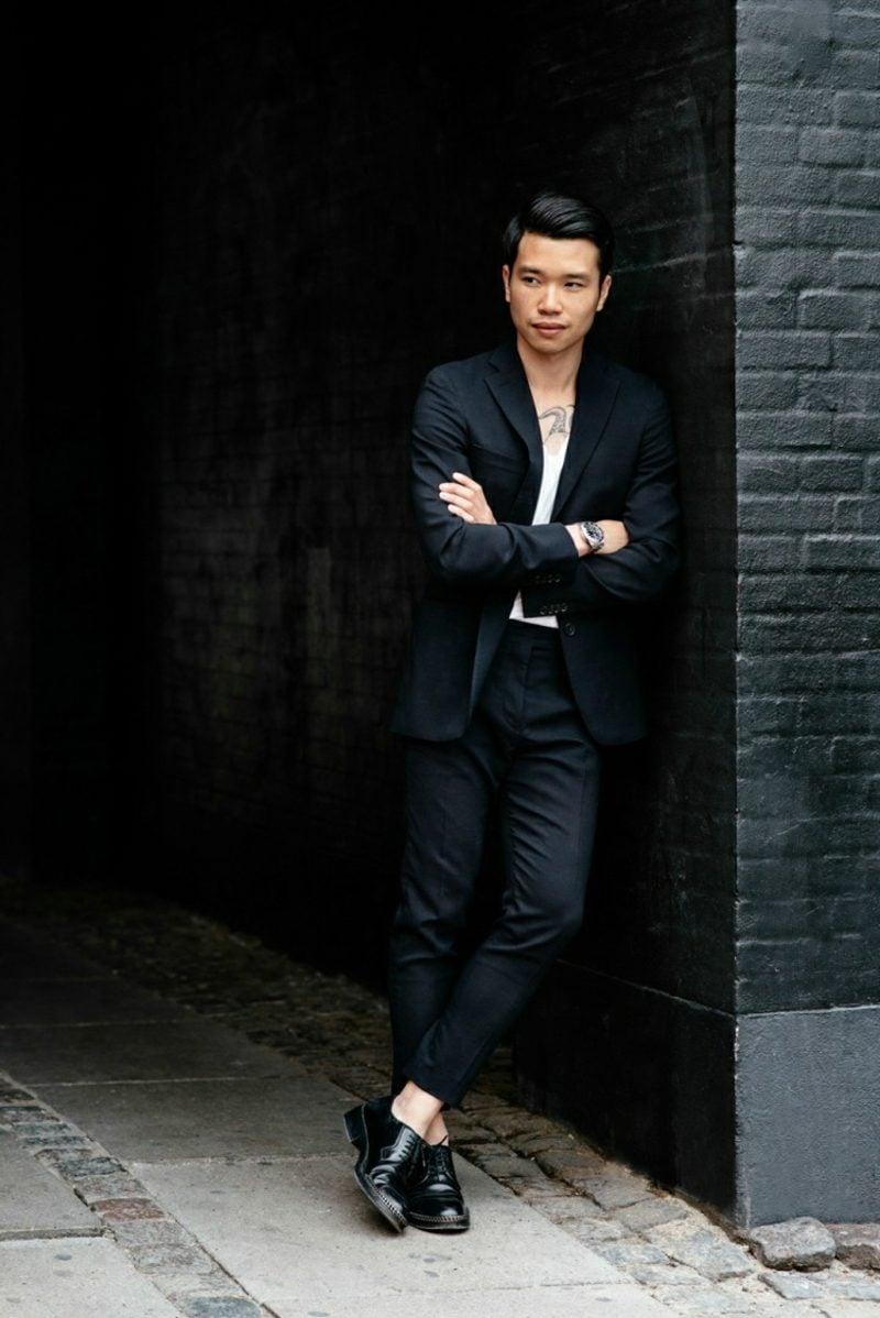 Anzüge Herren schwarz casual Tshirt
