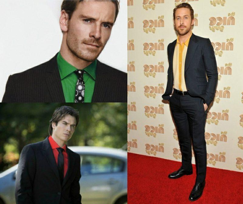 Anzüge Herren schwarz mit farbigem Hemd kombinieren