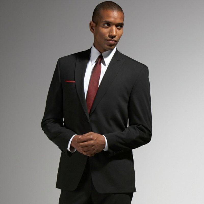 Anzüge Herren schwarz rote Krawatte