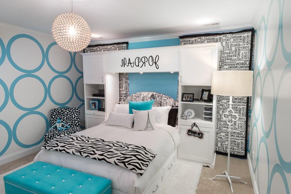 Ideen für Tapete Jugendzimmer mit geometrischen Mustern