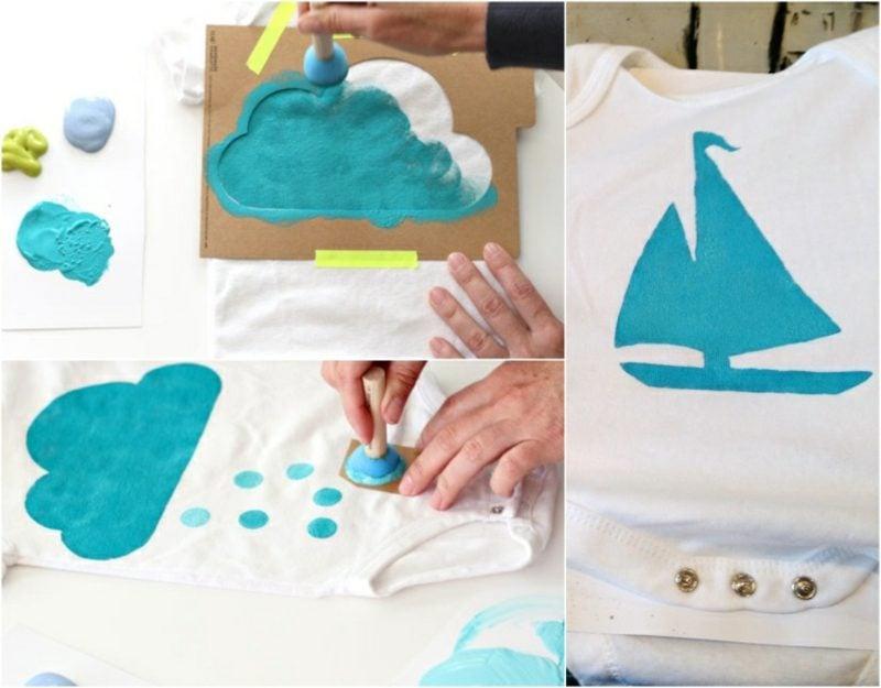 Body bemalen Baby tolle Motive Segelboot Wolke