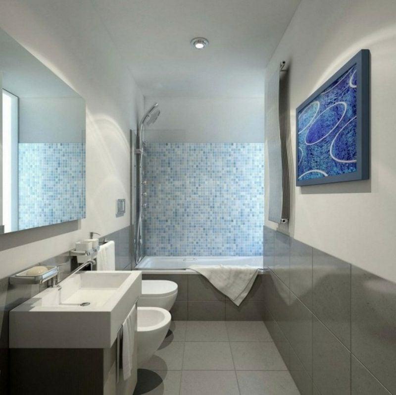 Bilder fürs Bad gross abstrakt blau Mosaik