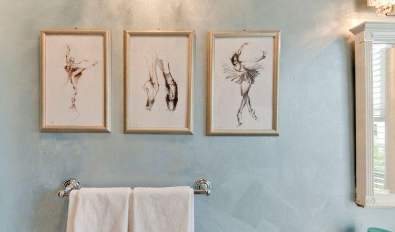 Bilder fürs Bad drei Balerinnen Zeichnungen