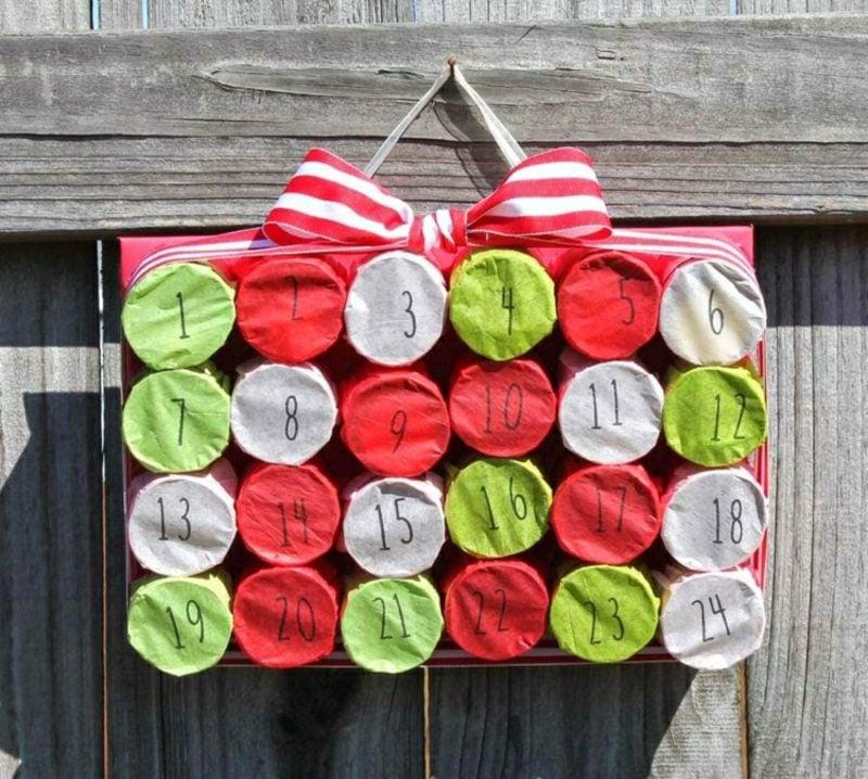 Basteln mit Klopapierrollen Weihnachten Adventskalender originell