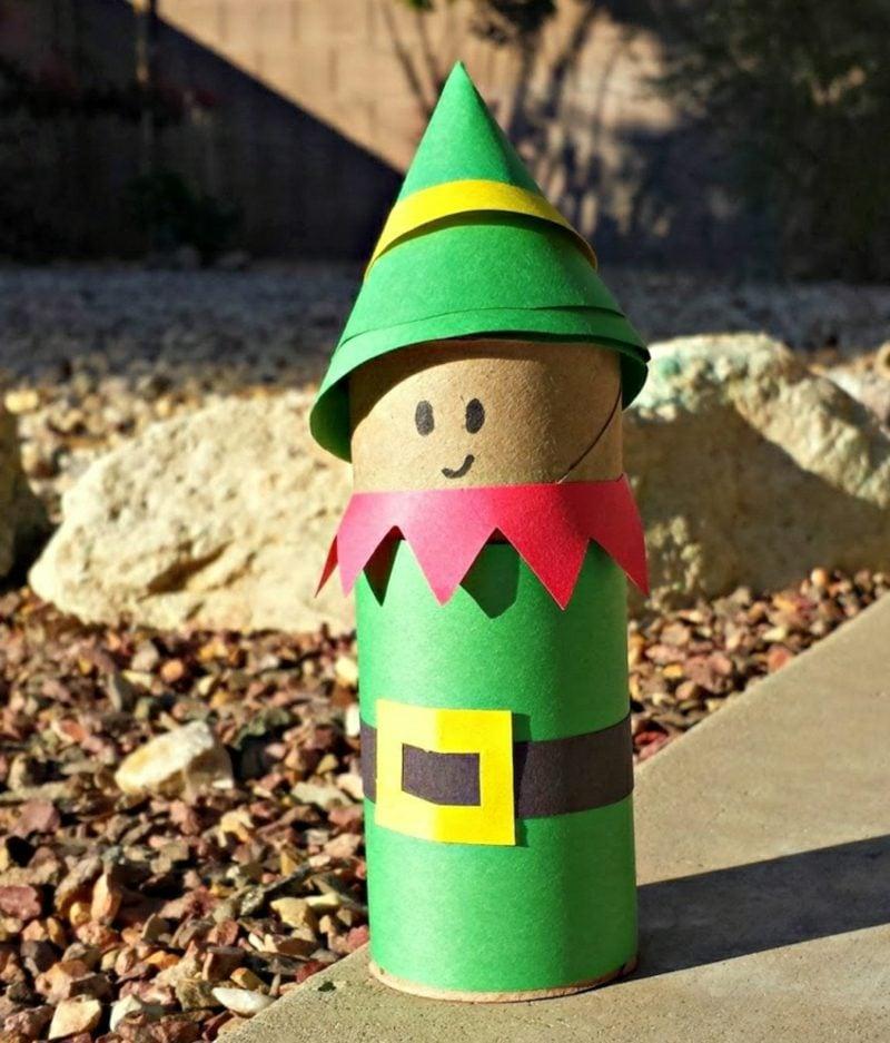 Basteln mit Klopapierrollen Weihnachten lustige Figuren Elf