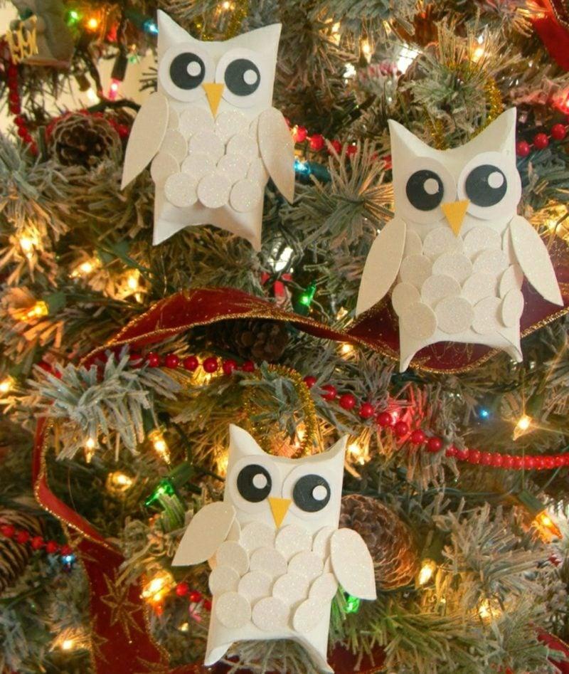 Basteln mit Klopapierrollen Weihnachten niedliche Eulen Christbaumschmuck