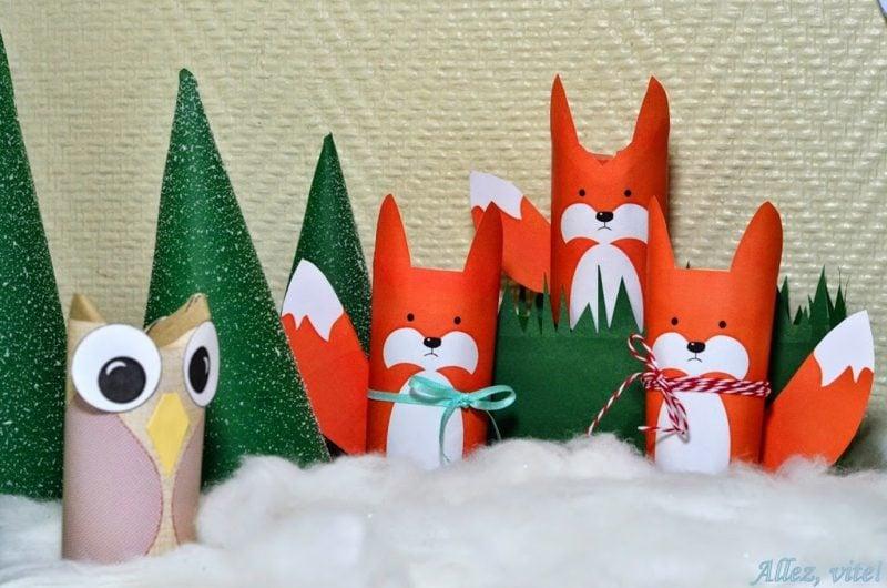 Basteln mit Klopapierrollen Weihnachten lustige Figuren Eule Füchse