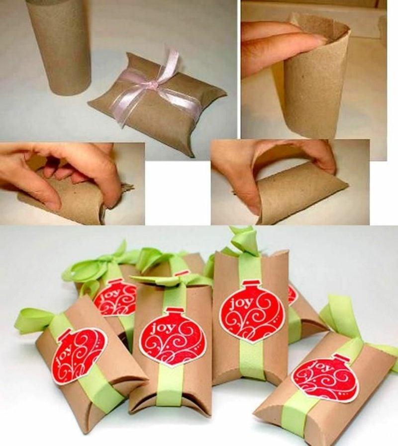Basteln mit Klopapierrollen Weihnachten Geschenktüten machen Bilderanleitung