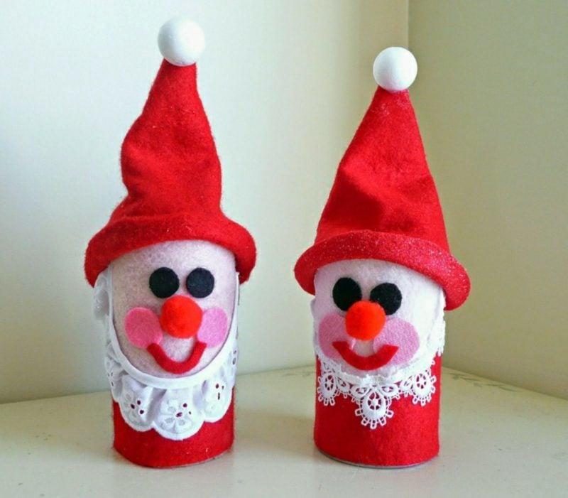 Basteln mit Klopapierrollen Weihnachten lustige Figuren Nikolaus Filz