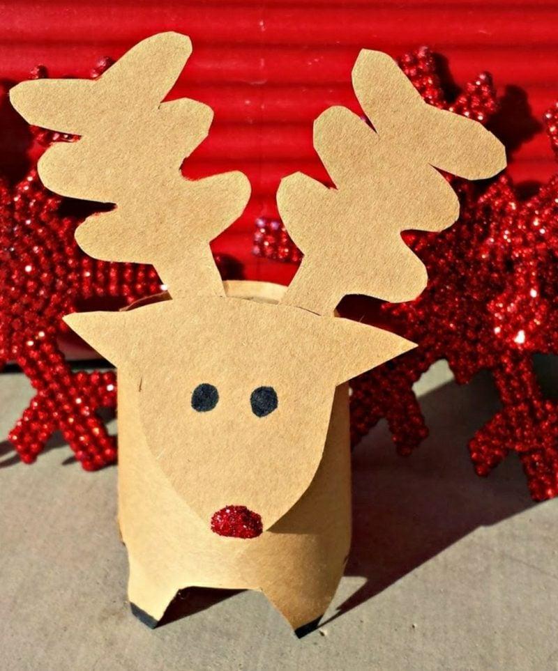 Basteln mit Klopapierrollen Weihnachten Rentiere selber machen