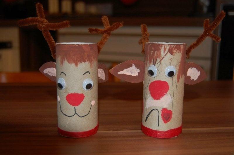 Basteln mit Klopapierrollen Weihnachten lustige Rentiere