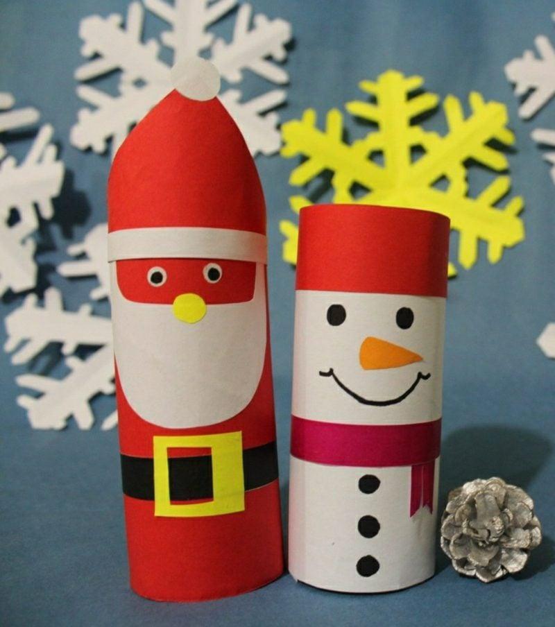Basteln mit Klopapierrollen Weihnachten Weihnachtsmann Schneemann