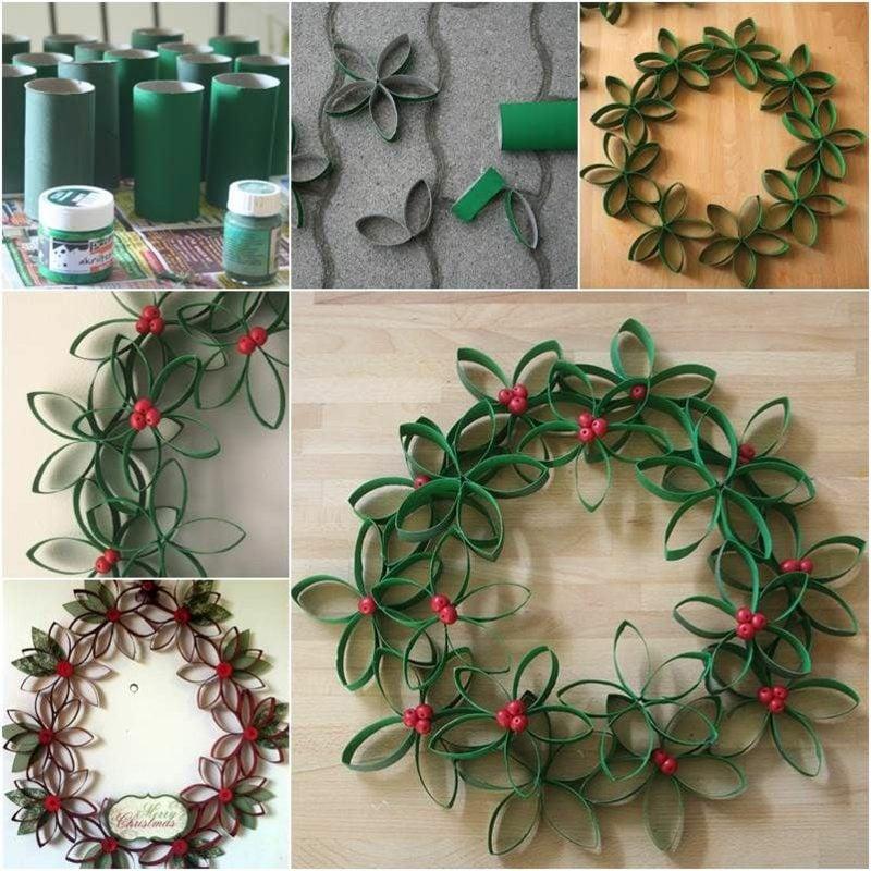 Basteln mit Klopapierrollen Weihnachten Türkranz DIY Anleitung