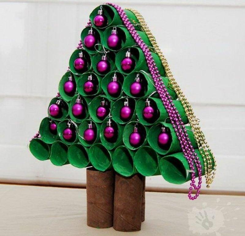 Basteln mit Klopapierrollen Weihnachten Tannenbaum kreativ