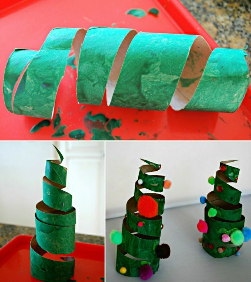 Basteln mit Klopapierrollen Weihnachten Tannenbaum Spirale