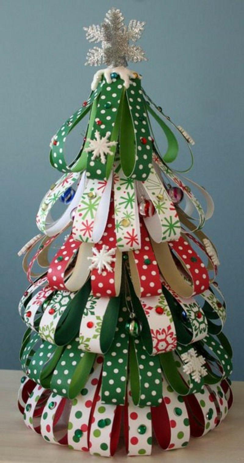 Basteln mit Klopapierrollen Weihnachten Weihnachtsbaum selber machen