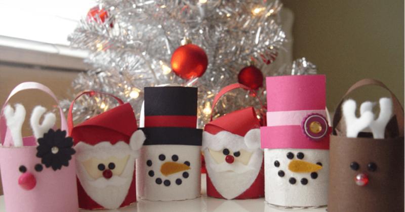 Basteln mit Klopapierrollen Weihnachten lustige Figurren selber machen