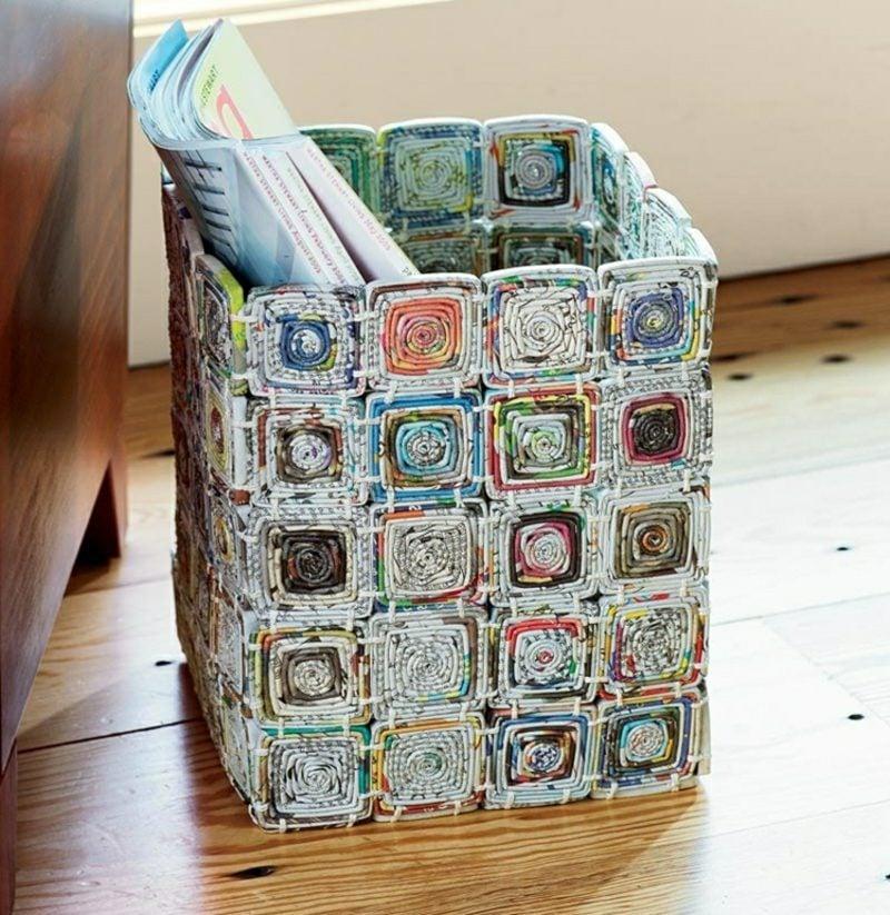Basteln mit Zeitungspapier inspirierende Ideen