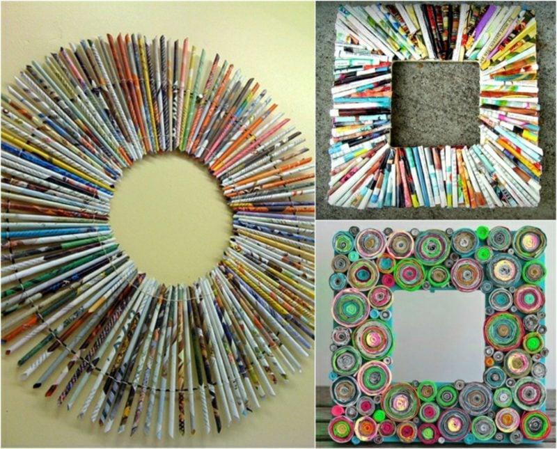 Basteln mit Zeitungspapier Bilderrahmen dekorieren