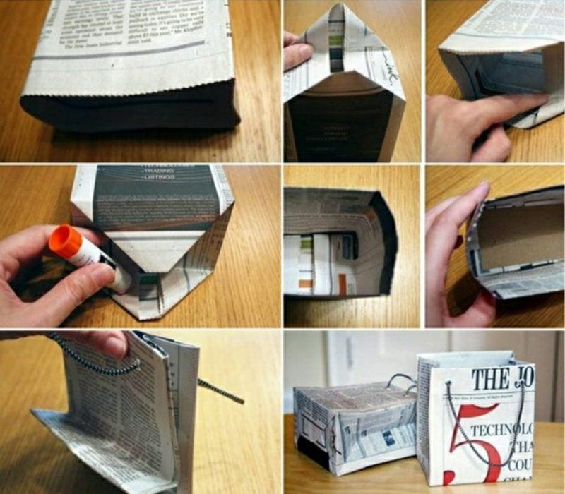 Basteln mit Zeitungspapier Geschenktüte falten Bilderanleitung