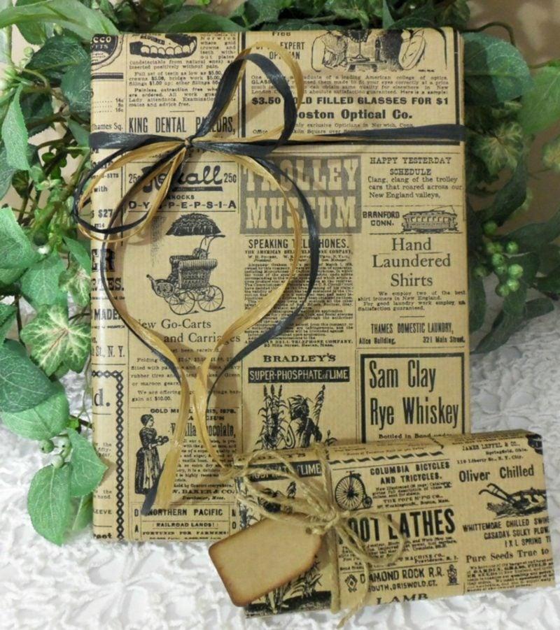 Basteln mit Zeitungspapier Geschenke verpacken originell