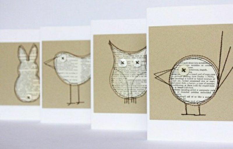 Basteln mit Zeitungspapier tolle Grusskarten selber machen