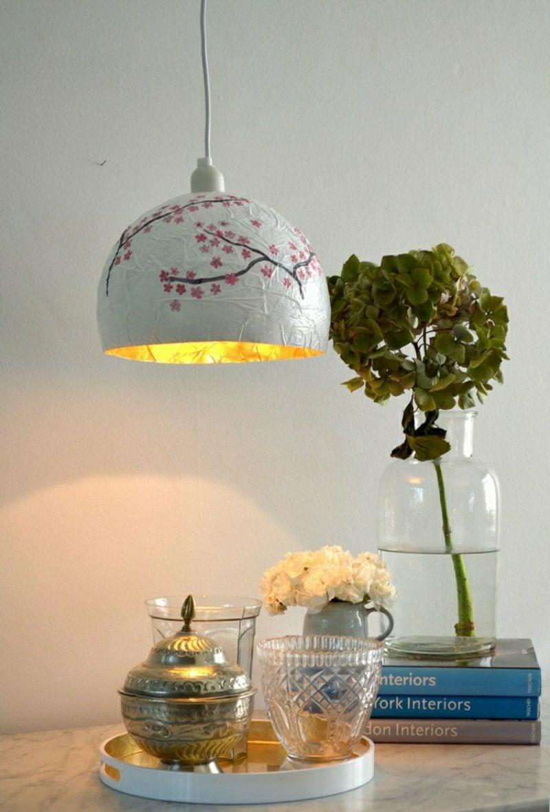 Basteln mit Zeitungspapier Lampenschirm japanischer Stil Pappmache