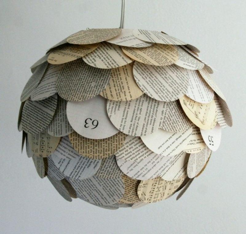 Basteln mit Zeitungspapier Lampenschirm herrlicher Look
