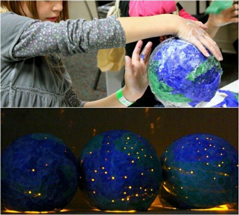 Basteln mit Zeitungspapier Nachtlampe Globus originell