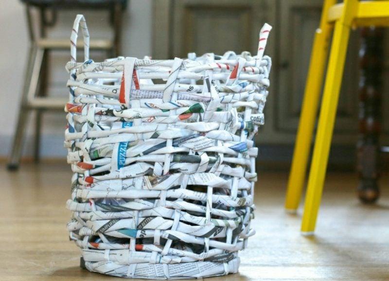 Basteln mit Zeitungspapier Papierkorb selber machen