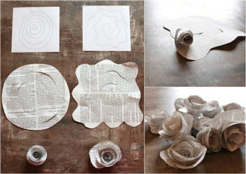 Basteln mit Zeitungspapier Papierrose falten