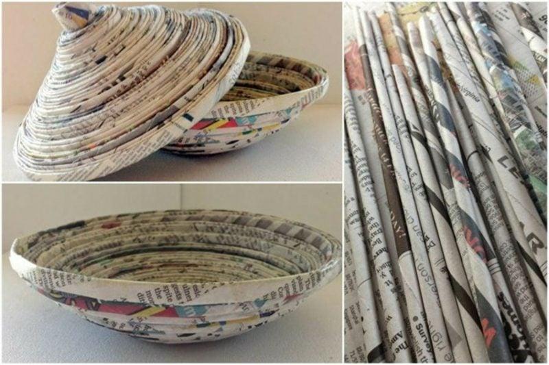 Basteln mit Zeitungspapier originelle Schüssel