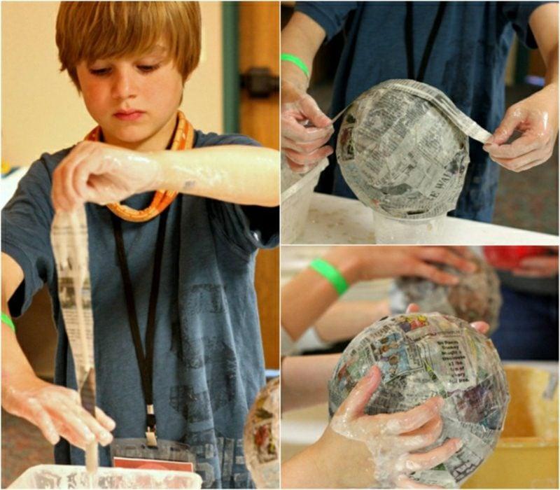 Basteln mit Zeitungspapier Pappmache herstellen mit Kindern