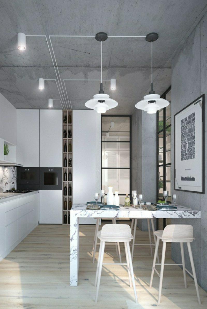 Betonwand Küche Industriell
