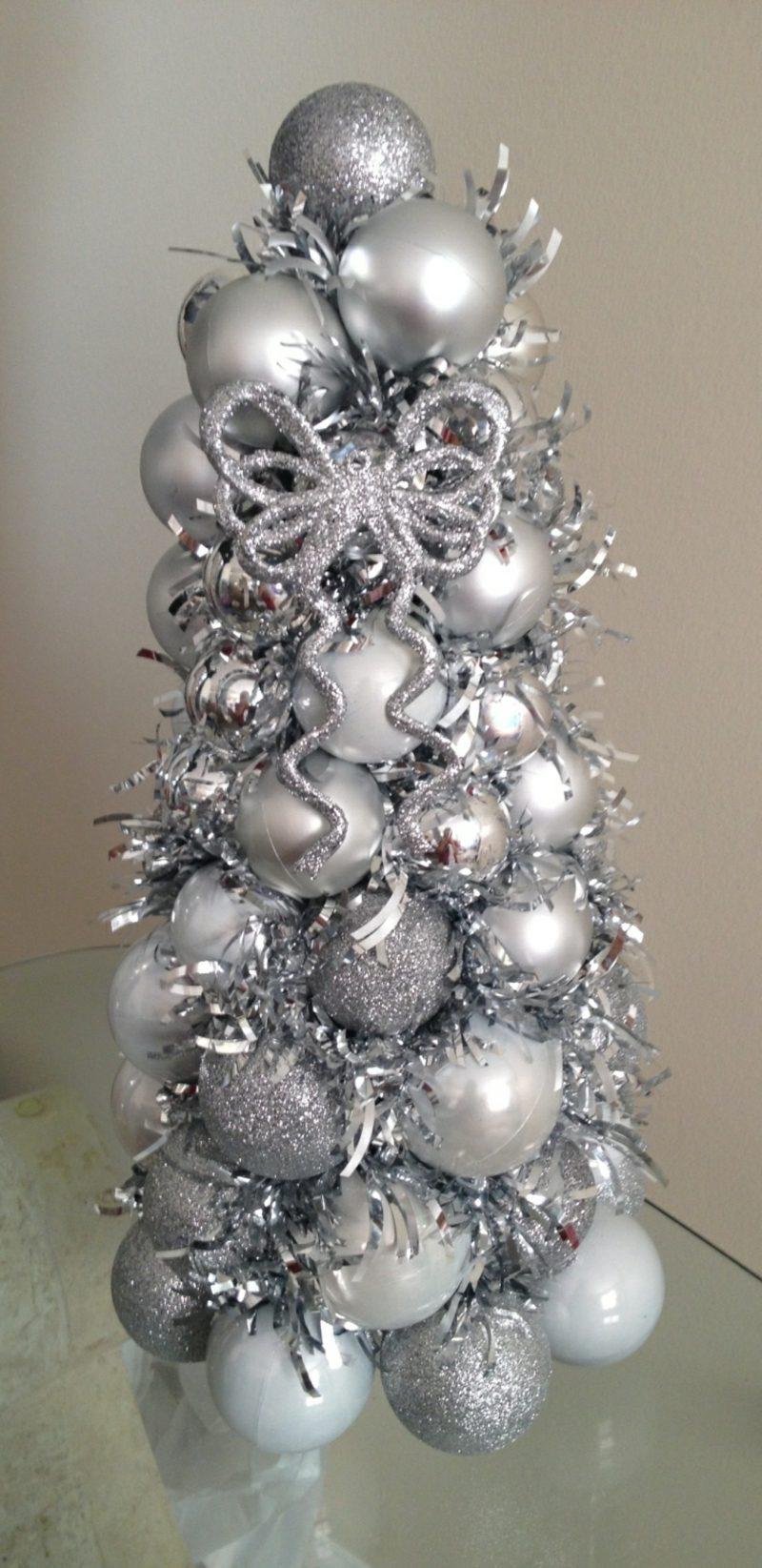 Weihnachtsbaum basteln aus Kugeln Anleitung