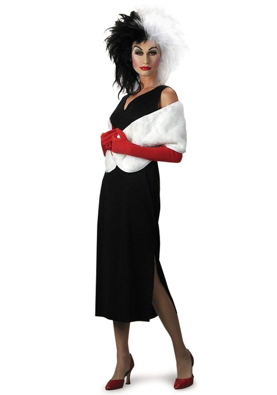 Cruella De Vil Kostüm Perücke schwarzes Kleid
