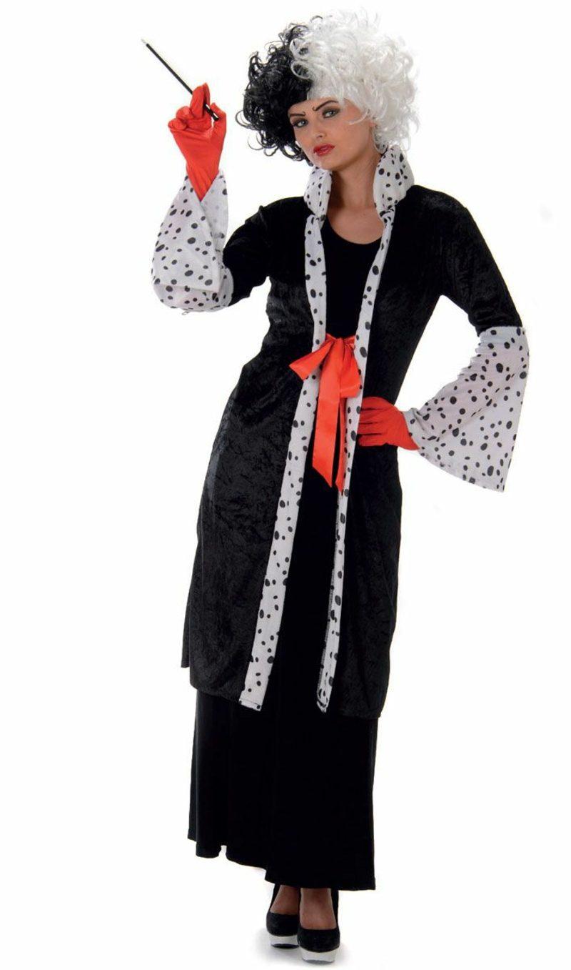 Cruella De Vil Kostüm Mantel ausgefallen Perücke
