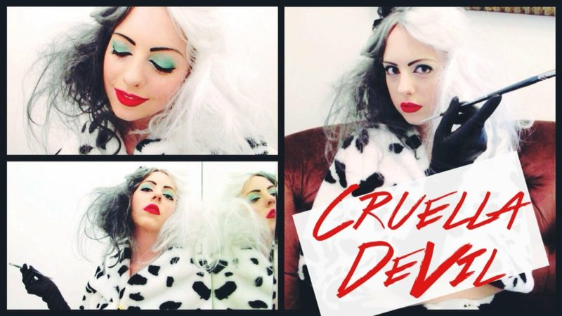 Cruella De Vil Kostüm Make up eindrucksvoll