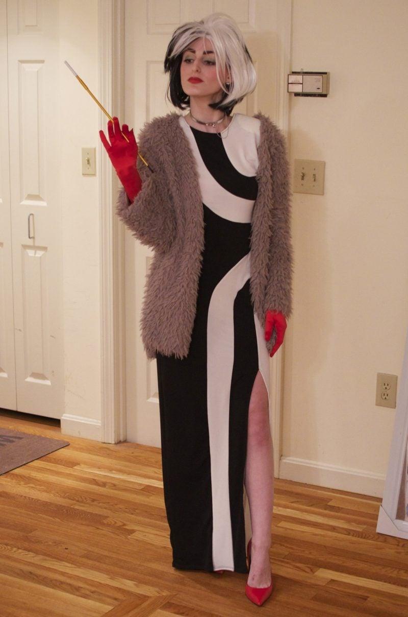 Cruella De Vil Kostüm originelles Kleid Zigarettenhalter