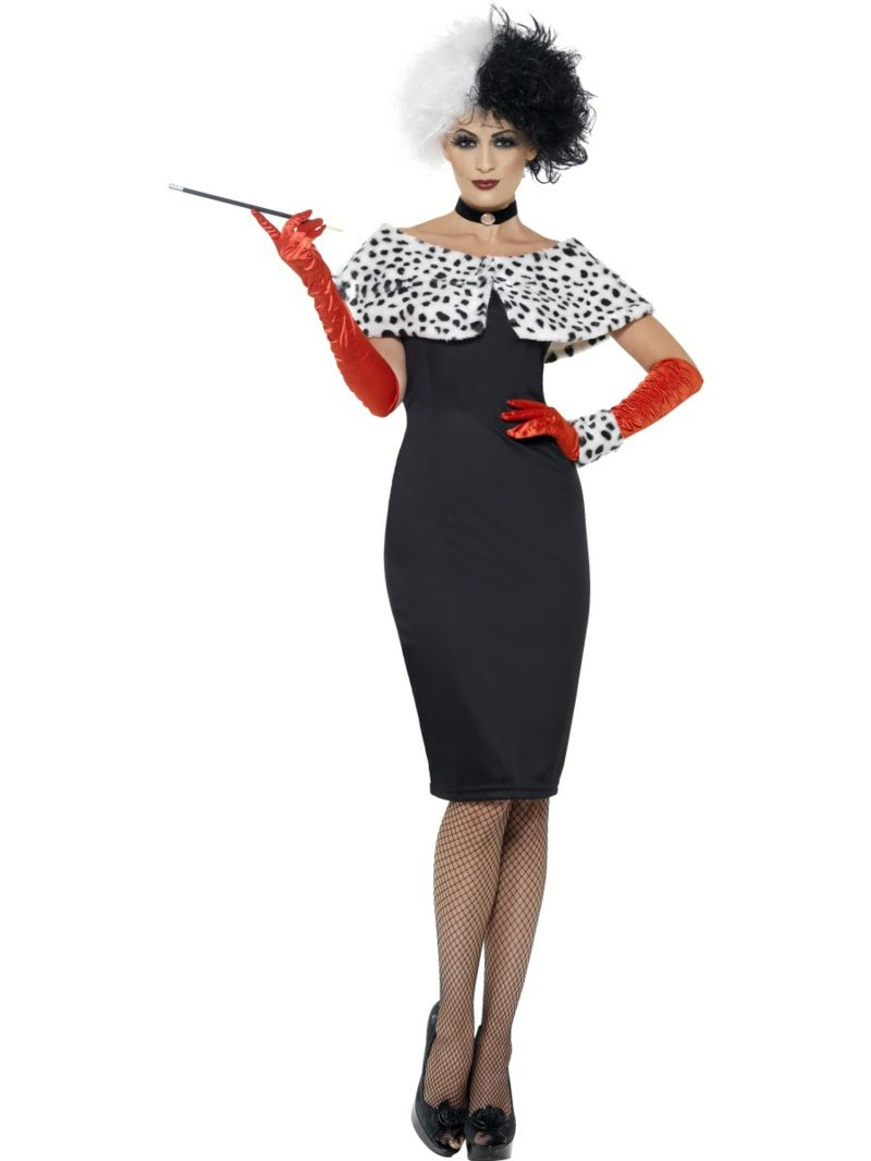 Cruella De Vil Kostüm super elegantes Kleid und lange Handschuhe
